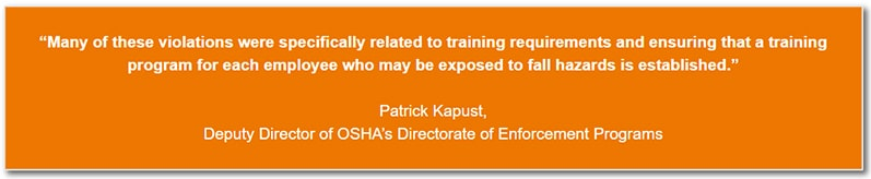 Many of these violations were specifically related to training requirements and ensuring that a training program for each employee who may be exposed to fall hazards is established.